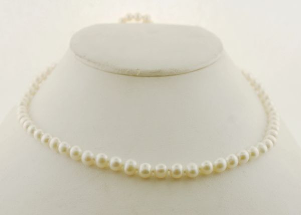 5.0 - 5.5 mm Cultured Saltwater Pearl Strand Necklace with 14K Gold Clasp