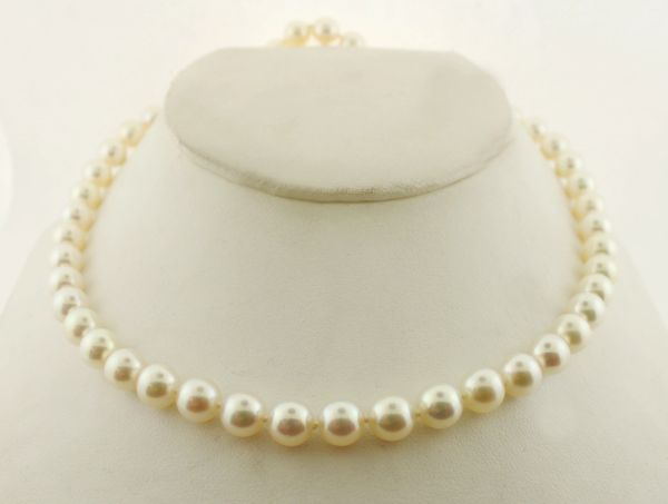 "18"" 7.0 - 7.5 mm Cultured Saltwater Pearl Strand Necklace with 14K Gold Clasp"