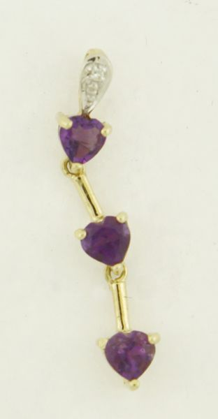 14k Yellow Gold 3 Amethyst Heart Drop Charm
