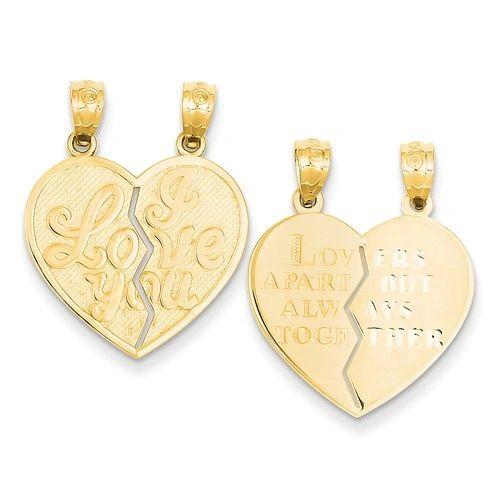 I Love You Heart Break-A-Part Reversible Pendant (JC-1199)
