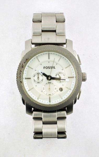 Fossil Chronograph Date Silver 50M Mens Watch FS-4663