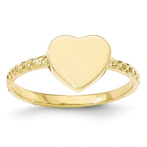 Polished Textured Heart Signet Ring (JC-1153)