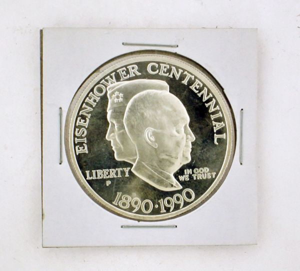 1990 United States Mint Eisenhower Centennial Commemorative Silver Dollar Our Rating: (VF) Very Fine