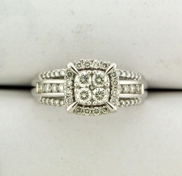 Quad Princess-Cut Diamond Frame Multi-Row Shank Vintage-Style Engagement Ring