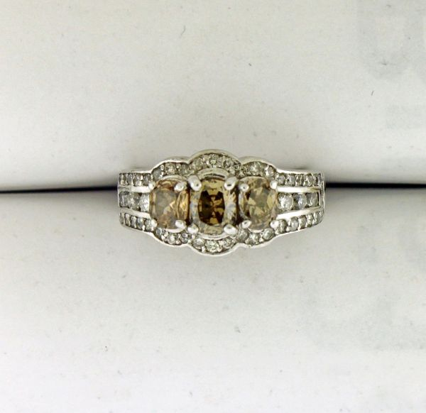 1.57 CT. T.W. Moissanite Vintage-Style Three Stone Engagement Ring in 14K White
