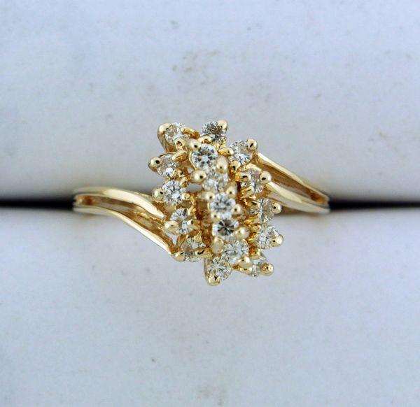 14k Yellow Gold Round Diamond Diagonal 3-Row Cluster Cocktail Dome Ring