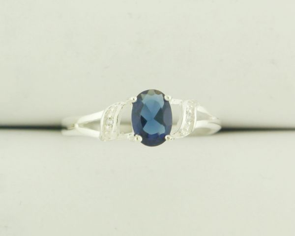 925 Sterling Silver Sapphire and CZ Three Stone Ring