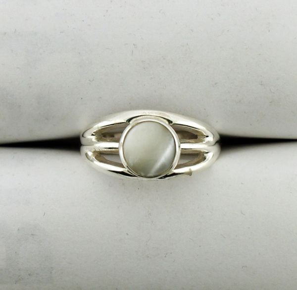 Round White Jade Ring in Sterling Silver