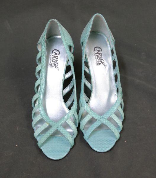 Women Carlos by Carlos Santana Harmony Blue Leather Open Toe Shoe 5 ½ M