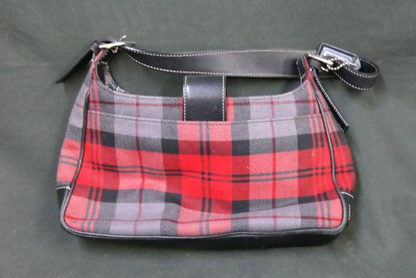 Coach Red/Gray/Black Plaid Handbag H2J-6751