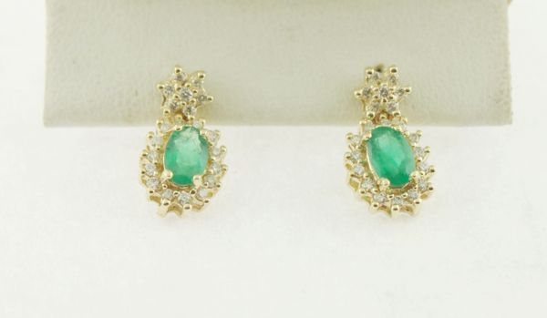 Big Oval Emerald & Diamond Frame Earrings in 10K Yellow Gold