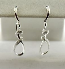 10k White Gold Twist Drop Diamond Earrings