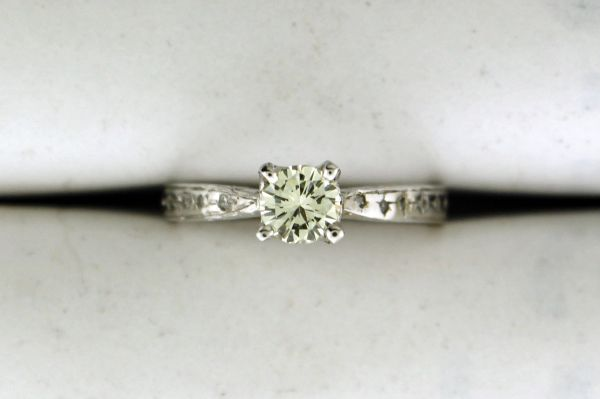 14k White Gold Womens Round Diamond Solitaire Engagement Ring
