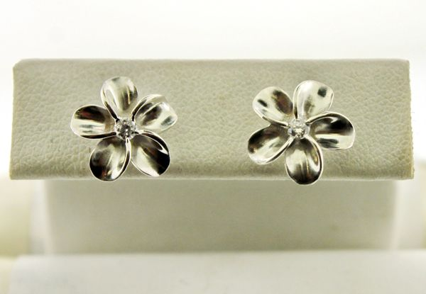 925 Sterling Silver CZ Accent Solitaire Flower Stud Earrings