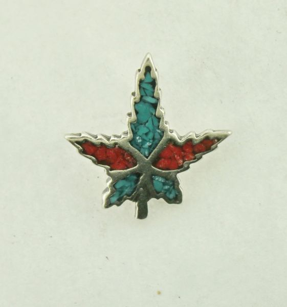 Vintage Native American Turquoise and Coral Leaf Charm