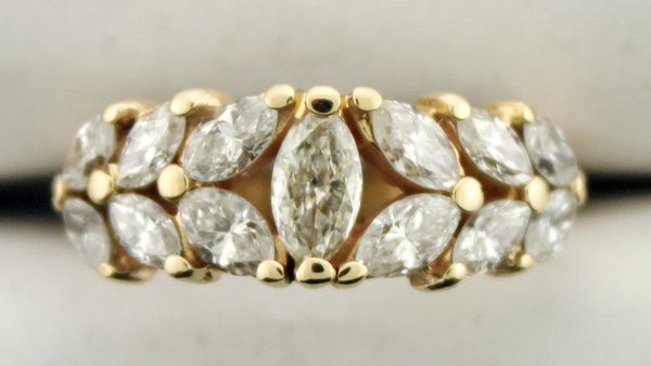 2.01 CT T.W. Marquise Diamond Leaf Band in 14K Yellow Gold