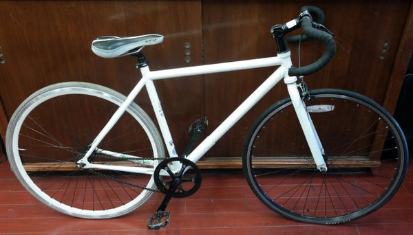 "White 26"" Fixed Gear Single Speed Durable Steel Frame Cruiser City Road Bicycle"