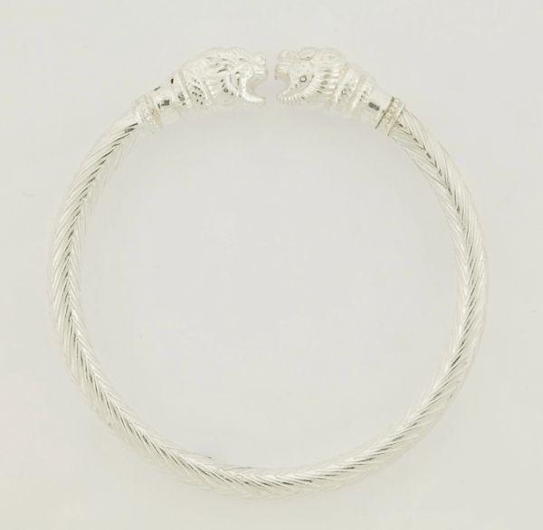 Fashionable Retro Jewelry .925 Silver Texture Double Headed Tiger Sterling Silver Bangle/Kada Bracelet