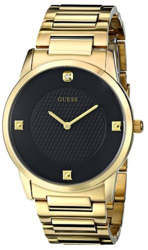 Guess U0428G1 Men's Sleek Gold-Tone Watch with Diamond Accented Black Dial