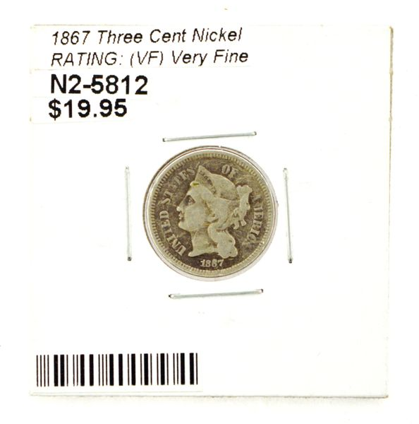 1867 Three Cent Nickel RATING: (VF) Very Fine
