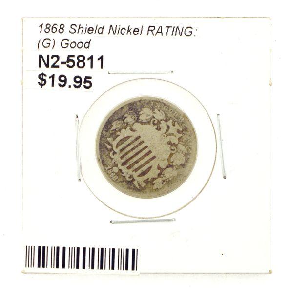 1868 Shield Nickel RATING: (G) Good