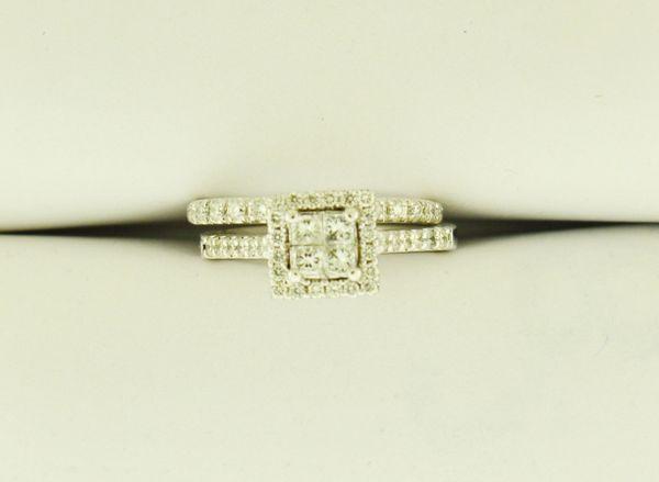 14k White Gold 0.47 TCW Princess Quad Halo Engagement Ring and 0.2125 TCW Wedding Band