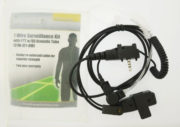 Impact 1-Wire Earpiece Lapel Mic for Kenwood 2-Pin Radios