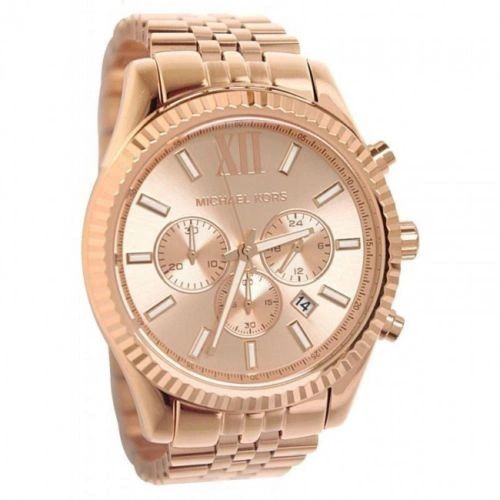 Michael Kors MK-8319 Lexington Chronograph Rose Gold Tone Mens Watch