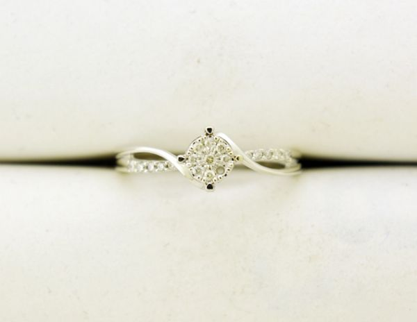 0.165 CT. T.W. Diamond Cluster Bypass Promise Ring in 10k White Gold