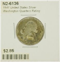1941 United States Silver Washington Quarters Rating (G) Good