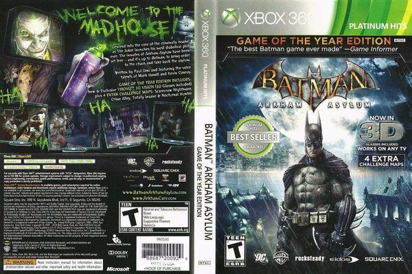 Batman: Arkham Asylum - Platinum Hits (Microsoft Xbox 360, 2010)