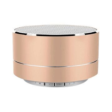 Round Portable Wireless Bluetooth Speaker Small Steel Pink Metal