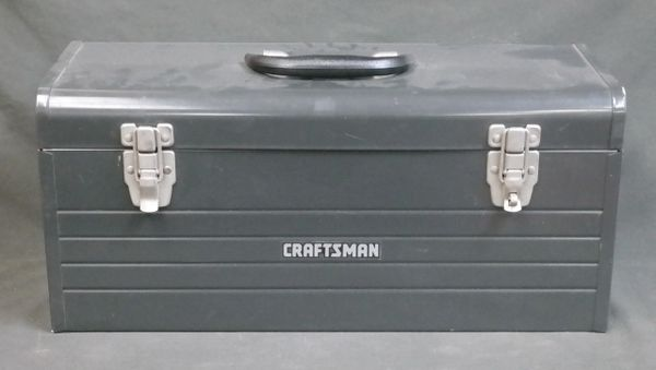 """Vintage 20"""" Craftsman Gray Metal Tool Box with Red Pull-Out Tray Mechanics"""