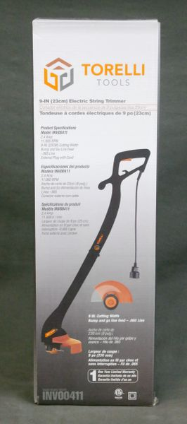 "9"" (23cm) Electric String Trimmer by TORELLI INV00411 2.4 AMP 11000 RPM .065 line"