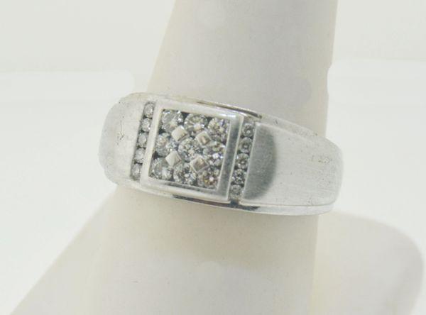 14k White Gold Men's Round Diamond Square Cluster Ring (0.37 ctw.)