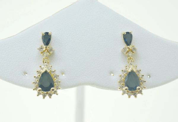 14k Gold Pear Shaped Blue Sapphire Drop Earrings with Diamond Halo