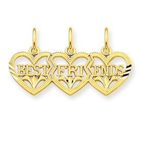 Triple Heart DC Best Friends Break Apart Charm (JC-055)
