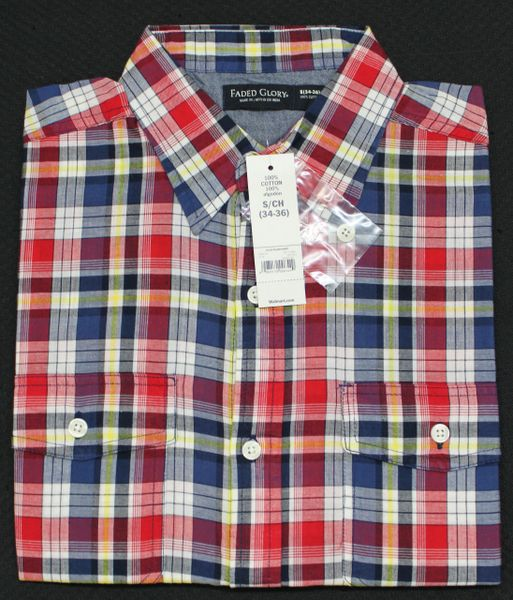 Faded Glory Mens Plaid Small Red Button Up Short Sleeve Shirt