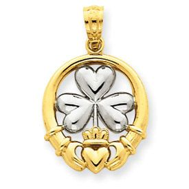 Claddagh with Shamrock Pendant (JC-097)