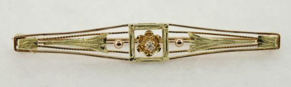 10K Rose & Yellow Gold Antique Estate Diamond Brooch