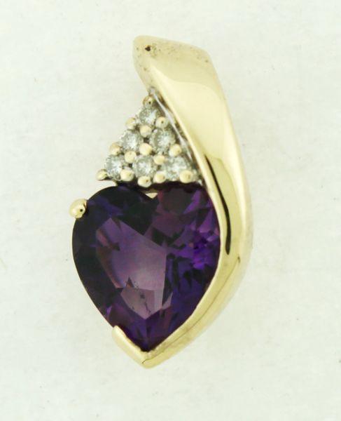 14K Diamond and Amethyst Pendant