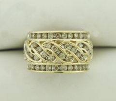 1.20 Carat Diamond Cocktail Ring 10K Yellow Gold Ring