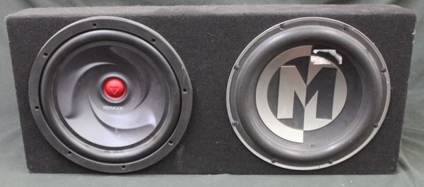 Dual 12in Subwoofer Box and Speakers 1 Kenwood & 1 M