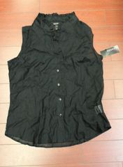 Women George Ladies Ruffle Top Blouse Transparent See Trough Black Size S(4-6)