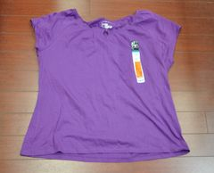 Women's JMS Just My Size Relaxed Fit Top Tee Blouse Cap Sleeve Purple Size 2X (18W-20W)