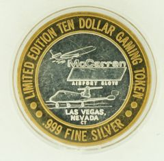 "$10 MCCARRAN SILVER STRIKE ""WELCOME TO FABULOUS LAS VEGAS"" .999 SILVER TOKEN"