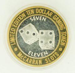"$10 MCCARRAN SILVER STRIKE ""SEVEN ELEVEN"" .999 SILVER CASINO TOKEN!"