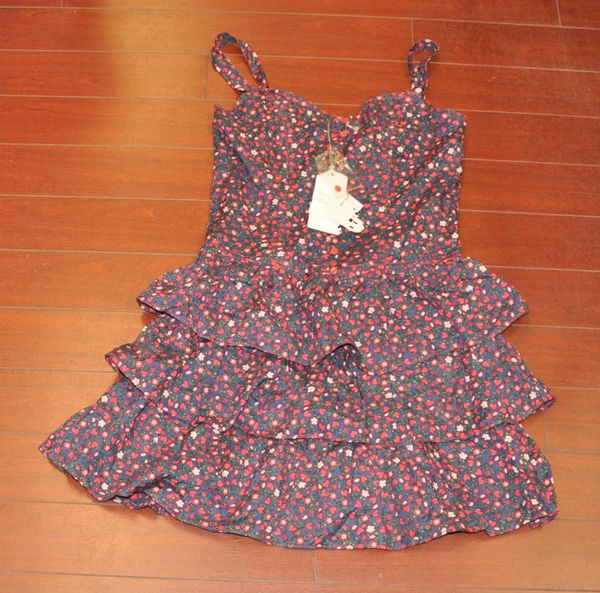Juniors Ali & Kris Floral Ruffle Bottom Dress Color Navy Size L
