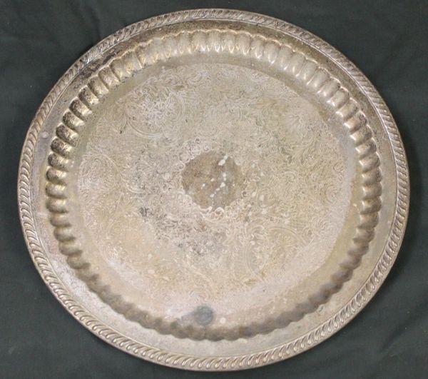 Vintage Silver Round Serving Tray Dish Platter Filigree