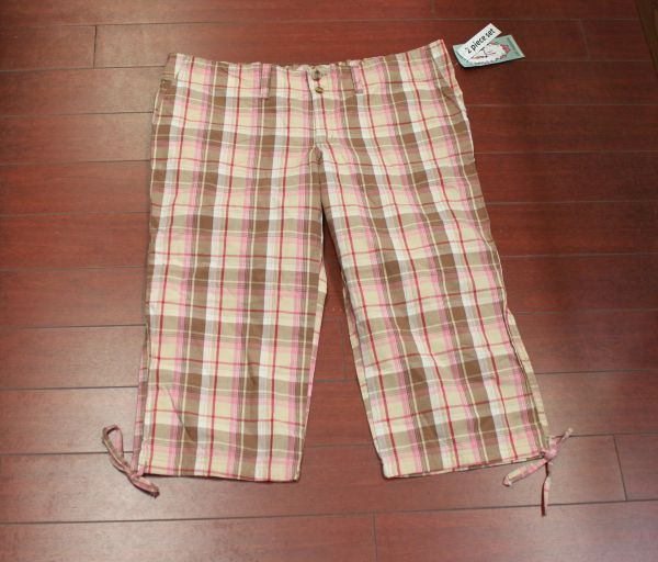 Women's Oh! Mamma Maternity Plaid Side Tie Capri Pink/Brown Size M